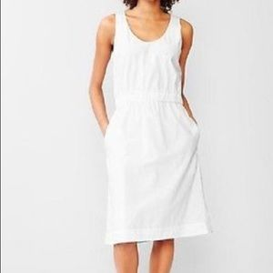 White cinched scoop neck Gap dress